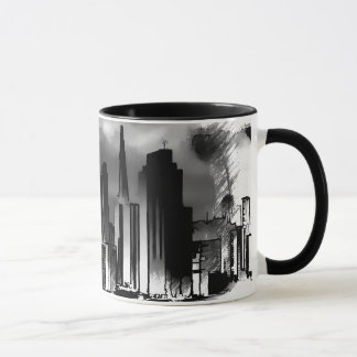 Chicago-Skyline-Skizze in Schwarzweiss Tasse
