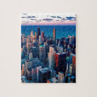 Chicago-Skyline-Sonnenuntergang Puzzle