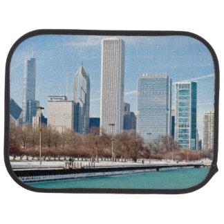 Chicago-Skyline über gefrorenem Michigansee Automatte