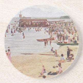 Chicago-Strand-Szenen-Vintage Getränkeuntersetzer