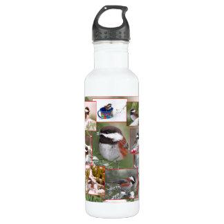 Chickadees in der Winter-Collage Trinkflaschen