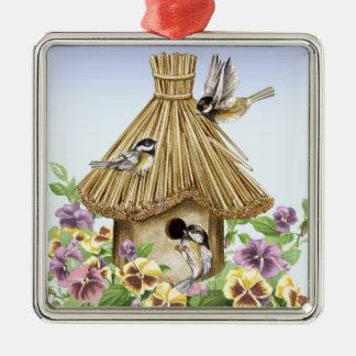 ChickadeesBirdhouse Quadratisches Silberfarbenes Ornament