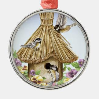 ChickadeesBirdhouse Silbernes Ornament