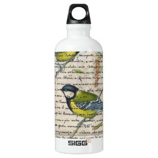 Chickadeesvogelcollage Wasserflasche