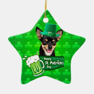 Chihuahua-Hündchen-St Patrick Tagesgrün-Klee Keramik Stern-Ornament