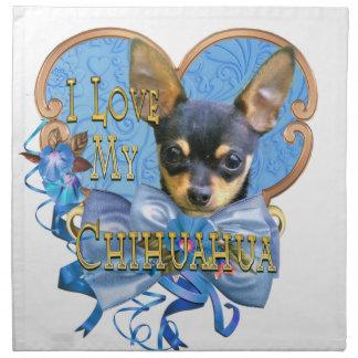 Chihuahua-Liebe im blauen Herzen Stoffserviette