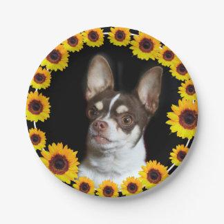 Chihuahua- und Sonnenblumehundepapier-Teller Pappteller 17,8 Cm