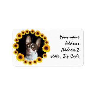 Chihuahua und Sonnenblumen, die Aufkleber Adressaufkleber