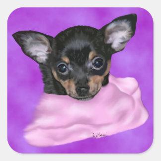 Chihuahua-Welpen-Porträt-Druck Quadratischer Aufkleber