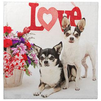 Chihuahuas, Blumen und Liebe Stoffserviette