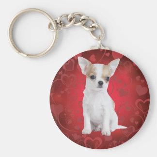 Chihuahuawelpe im Rot Standard Runder Schlüsselanhänger