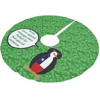 Chilenischer Feiertags-Herr Penguin Polyester Weihnachtsbaumdecke