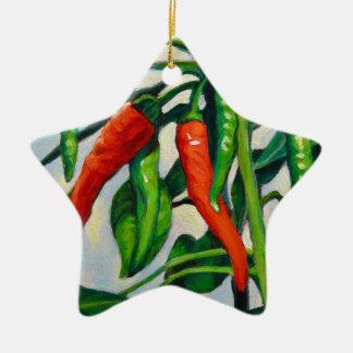 Chili-Paprikaschoten Keramik Stern-Ornament