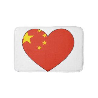 China-Flaggen-Herz Badematte