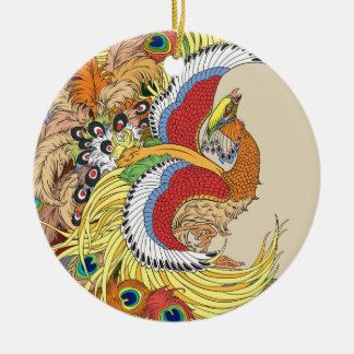 Chinese Phoenix Rundes Keramik Ornament