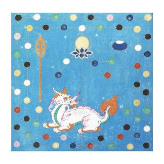 Chinesische Drache-bunte PunkteVintager Watercolor Leinwand Druck