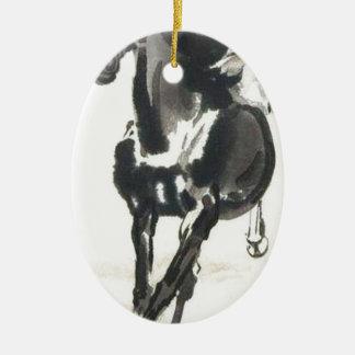 Chinesische Kunst - Pferde Ovales Keramik Ornament