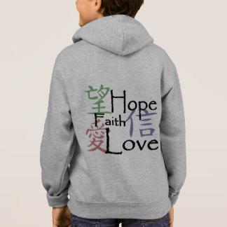 Chinesische Symbole für Liebe, Hoffnung und Glaube Hoodie