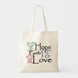 Chinesische Symbole für Liebe, Hoffnung und Tragetasche