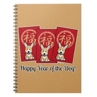Chinesischer roter Umschlagglückliches Corgi-Jahr Notizblock
