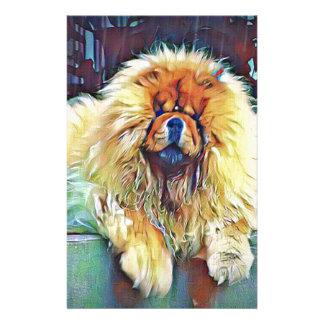 Chow-Chow-Hund auf Portal im Regen Briefpapier