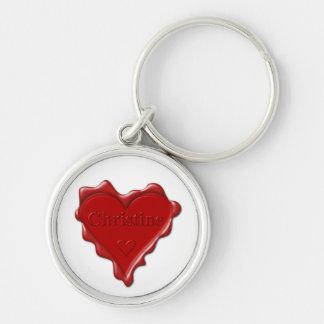 Christine. Rotes Herzwachs-Siegel mit Schlüsselanhänger
