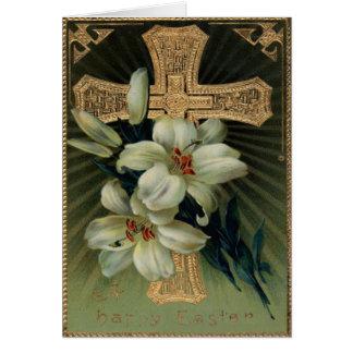 Christliche Goldkreuz-Osterlilie Karte