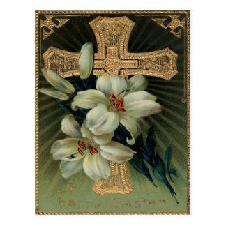 Christliche Goldkreuz-Osterlilie Postkarte