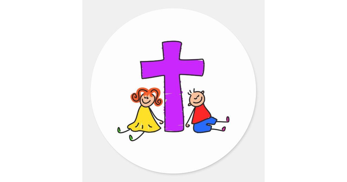 christliche kinder runder aufkleber. Black Bedroom Furniture Sets. Home Design Ideas