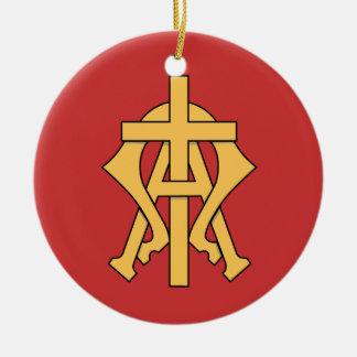 Christliche Symbol-Weihnachtsbaum-Verzierung Rundes Keramik Ornament