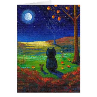 Christlicher Katzen-Mond-Herbstlaub Creationarts Mitteilungskarte