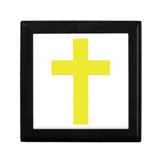Christliches einfaches gelbes Kreuz des Kleine Quadratische Schatulle