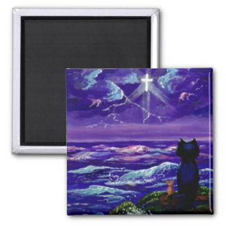 Christliches schwarze Katzen-Mäusekreuz Quadratischer Magnet