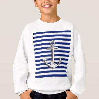Chrom-Anker auf Marine-Streifen Sweatshirt