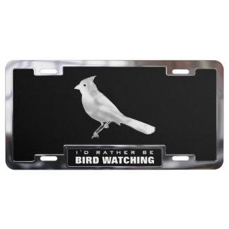 Chromieren Sie (Imitat) Kardinals-Vogel mit Feld US Nummernschild