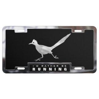 Chromieren Sie (Imitat) Roadrunner-Vogel mit Feld US Nummernschild
