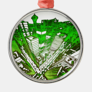 city in 3 point perspective special version green silbernes ornament