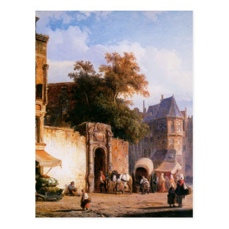 Cityview wiith marketstall durch Cornelis-Springer Postkarte
