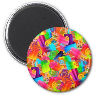 CKC Popsicle-Wirbel Orange-RUNDER MAGNET Runder Magnet 5,7 Cm