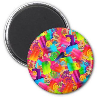CKC Popsicle-Wirbel Rosa-RUNDER MAGNET Runder Magnet 5,7 Cm