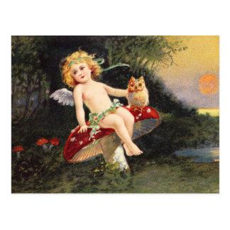 Clapsaddle: Kleiner Engel auf Pilz Postkarte