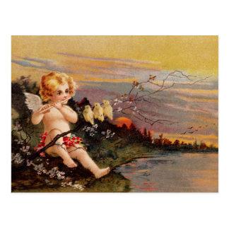 Clapsaddle: Kleiner Engel mit Flöte und Vögeln Postkarten