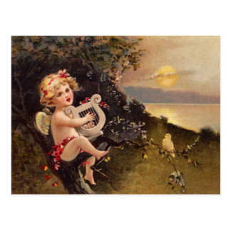 Clapsaddle: Kleiner Engel mit Harfe Postkarte