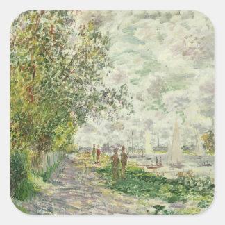Claude Monet | der Riverbank bei Gennevilliers Quadratischer Aufkleber