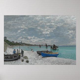 Claude Monet - der Strand bei Sainte-Adresse Poster
