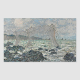 Claude Monet - Fischernetze bei Pourville Rechteckiger Aufkleber