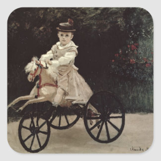 Claude Monet | Jean Monet auf seinem Hobby-Pferd, Quadratischer Aufkleber