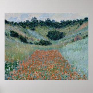 Claude Monet - Mohnblumen-Feld in einem hohlen Poster