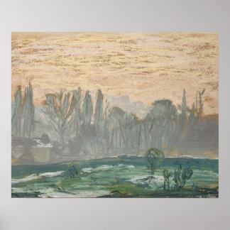 Claude Monet - Winter-Landschaft mit Abends-Himmel Poster