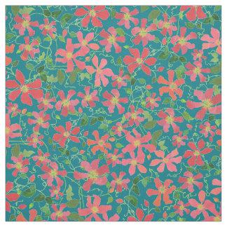 Clematis-Rosa, Rot, orange Blumen auf tiefem Blau Stoff